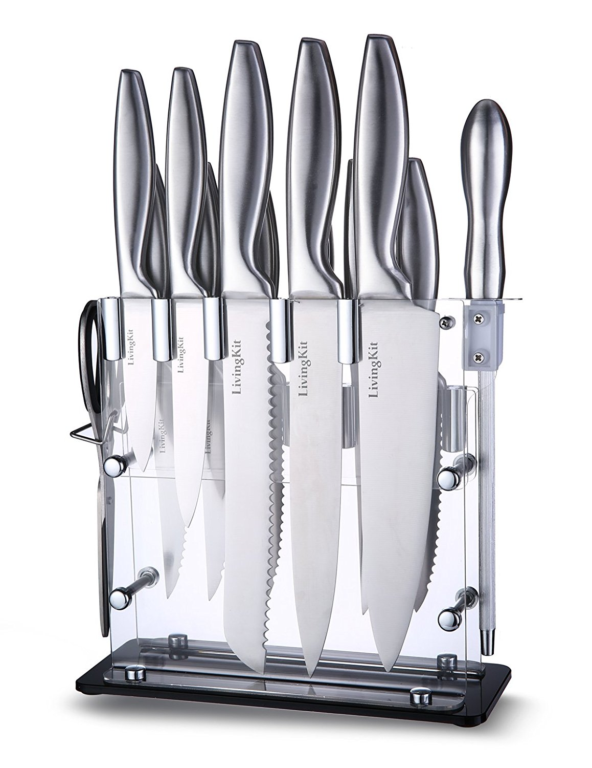 livingkit knife set with wooden block high durability stainless  - modernity knife sets simple design  modern knife block made with theacrylic glass material lightweight sturdy durable invisible cutlery setwith